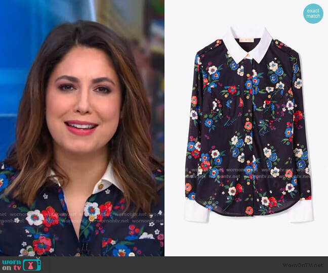 Brigitte Blouse by Tory Burch worn by Cecilia Vega  on Good Morning America