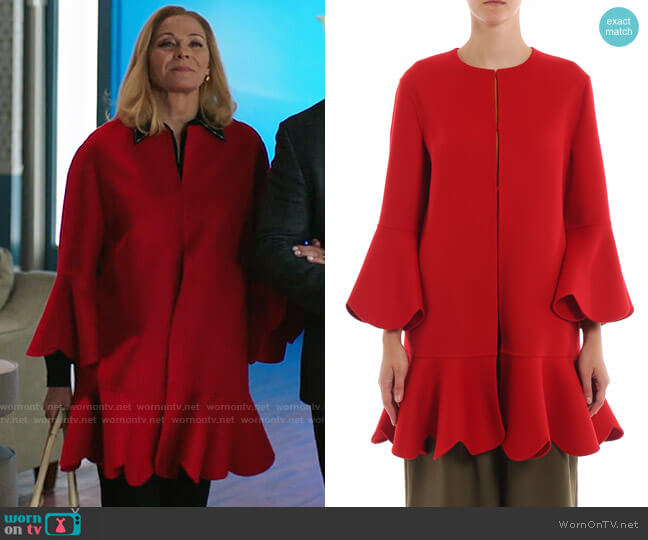 Valentino Red Ruffled Coat worn by Margaret Monreaux (Kim Cattrall) on Filthy Rich