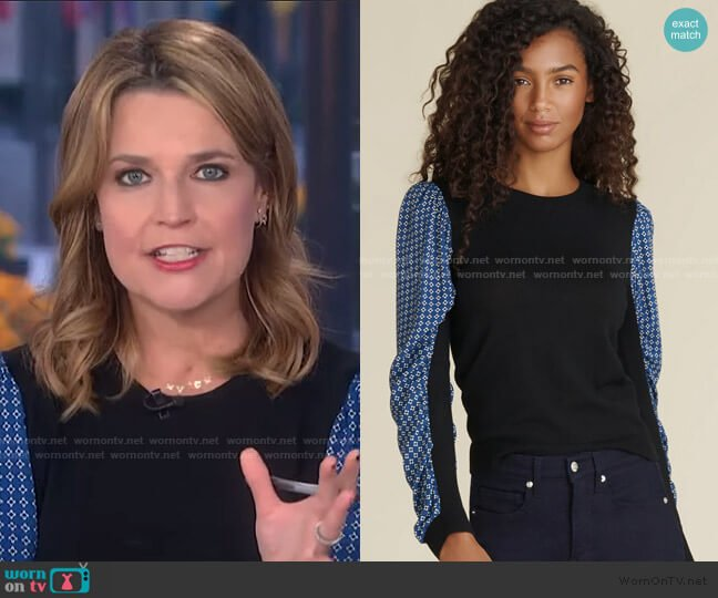 Adler Mixed-Media Sweater by Veronica Beard worn by Savannah Guthrie  on Today