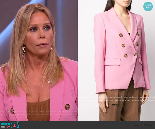 long sleeve double-breasted blazer by Veronica Beard worn by Cheryl Hines on The Kelly Clarkson Show