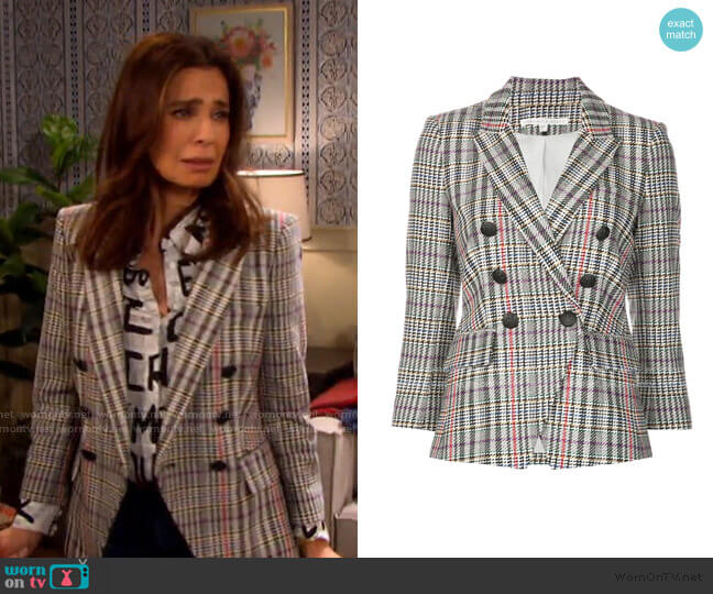 Empire Houndstooth Dickey Jacket by Veronica Beard  worn by Hope Williams (Kristian Alfonso) on Days of our Lives