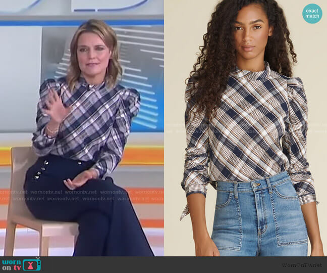 Isabel Plaid Top by Veronica Beard worn by Savannah Guthrie  on Today