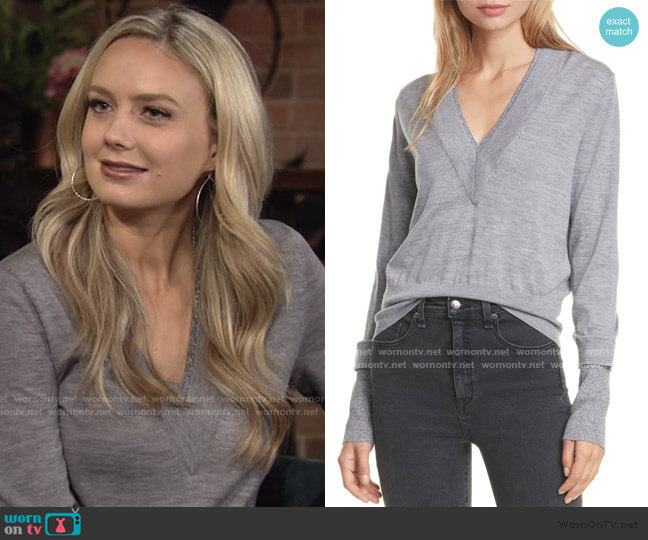 Tatiana Layered Merino Wool Blend Sweater by Veronica Beard worn by Abby Newman (Melissa Ordway) on The Young & the Restless