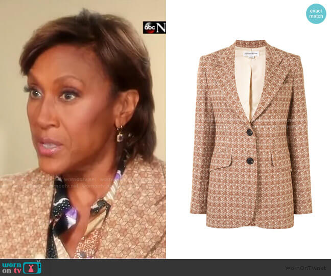 Geometric Pattern Single-Breasted Blazer by Victoria Beckham  worn by Robin Roberts  on Good Morning America