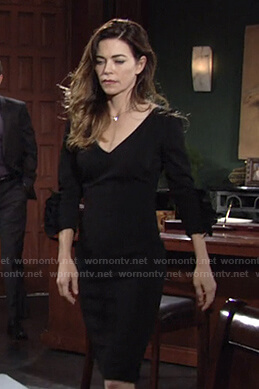 Victoria's black v-neck ruffle cuff dress on The Young and the Restless
