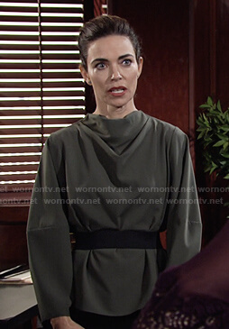 Victoria's green cowl neck top on The Young and the Restless