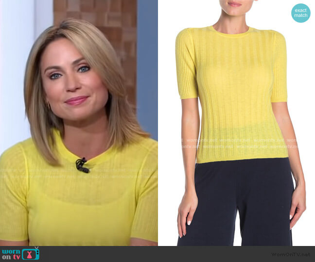 Short Sleeve Cashmere Blend Top by Vince worn by Amy Robach  on Good Morning America