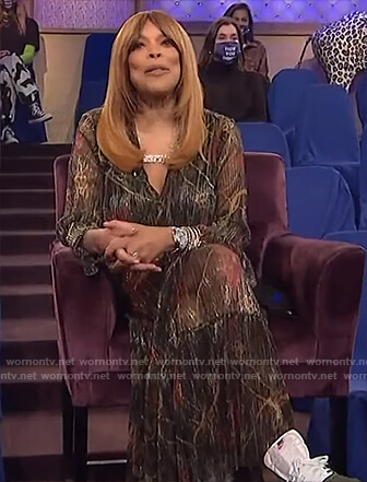 Wendy's black floral metallic dress on The Wendy Williams Show