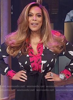 Wendy's black lip print blouse on The Wendy Williams Show
