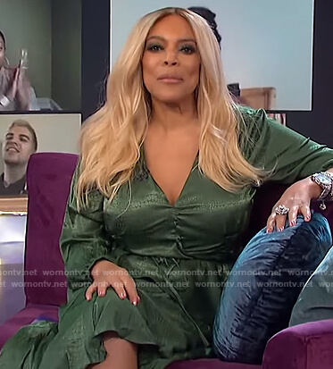 Wendy's green satin wrap dress on The Wendy Williams Show