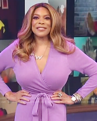Wendy's purple knit wrap dress on The Wendy Williams Show