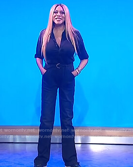 Wendy's black jumpsuit on The Wendy Williams Show
