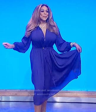 Wendy's purple tie waist dress on The Wendy Williams Show