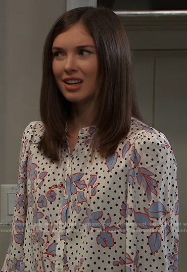 Willow's white floral dotted blouse on General Hospital