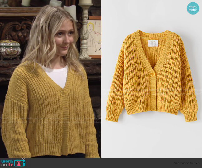 Chenille Knit Jacket by Zara worn by Faith Newman (Alyvia Alyn Lind) on The Young & the Restless