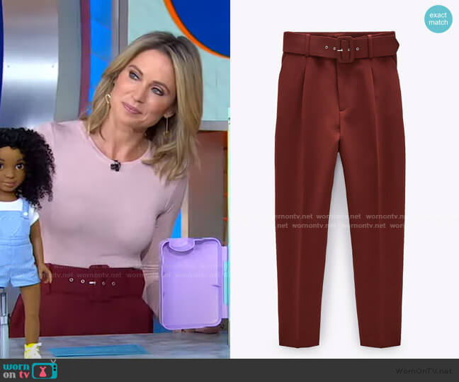 High Waisted Belted Pants by Zara worn by Amy Robach  on Good Morning America