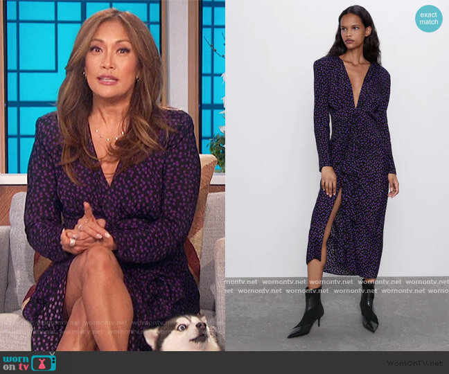 Polka Dot Dress with Shoulder Pads by Zara worn by Carrie Inaba  on The Talk