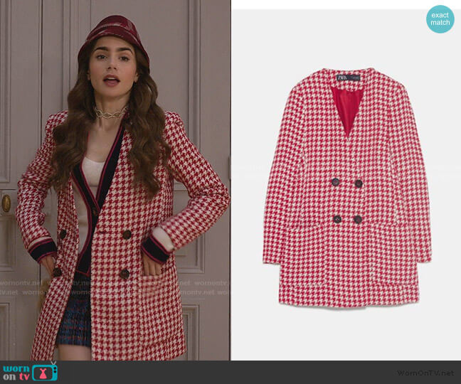 Frock Coat by Zara worn by Emily Cooper (Lily Collins) on Emily in Paris