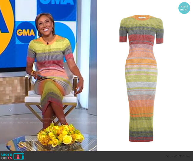 Brightside Knit Dress by Zimmermann worn by Robin Roberts  on Good Morning America
