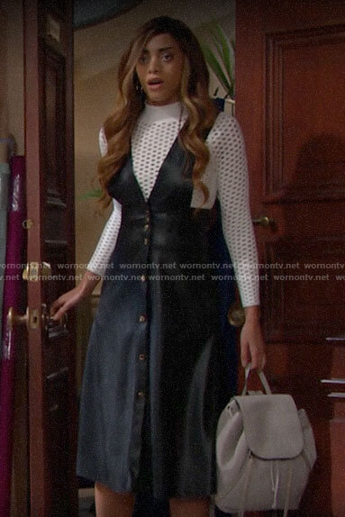 Zoe's leather button front pinafore dress on The Bold and the Beautiful