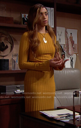 Zoe's mustard ribbed dress on The Bold and the Beautiful