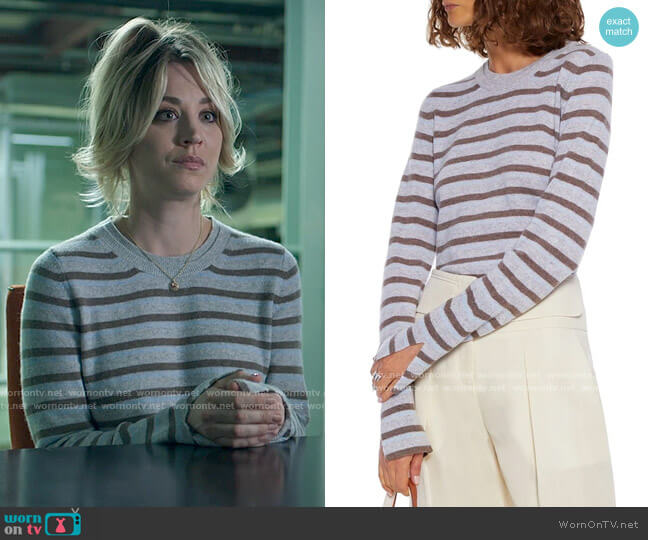3.1 Phillip Lim Striped cashmere-blend sweater worn by Cassie Bowden (Kaley Cuoco) on The Flight Attendant