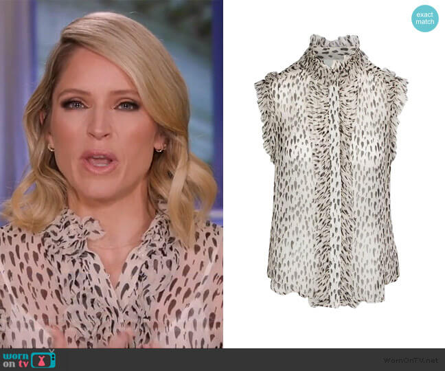 Sleeveless Top With Ruffles by 7 For All Mankind worn by Sara Haines  on The View