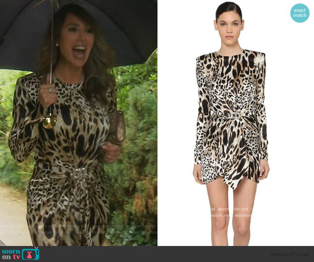 Printed Stretch Satin Mini Dress by Alexandre Vauthier worn by Kelly Dodd  on The Real Housewives of Orange County