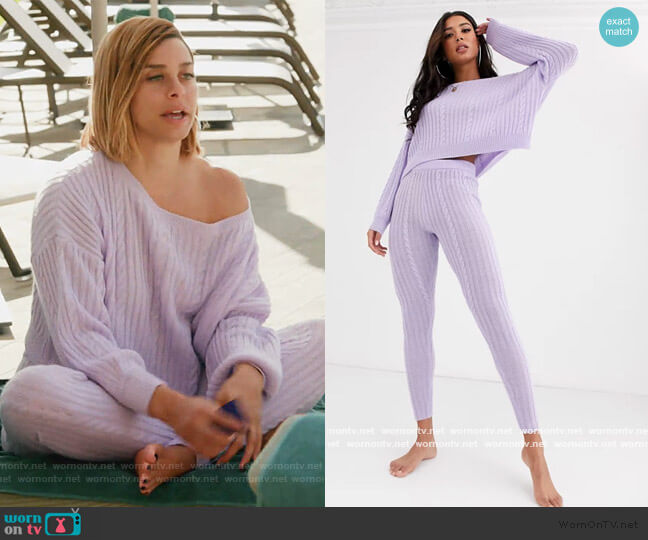 Premium Lounge Cable Knit Off Shoulder Sweater and Sweat Pants by ASOS worn by Robyn Dixon  on The Real Housewives of Potomac