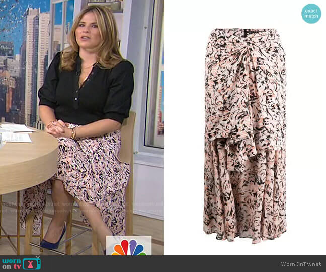 Abstract Animal Print Layered Skirt by Proenza Schouler worn by Jenna Bush Hager  on Today