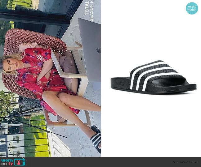 Adilette striped slides by Adidas worn by Khloe Kardashian  on Keeping Up with the Kardashians