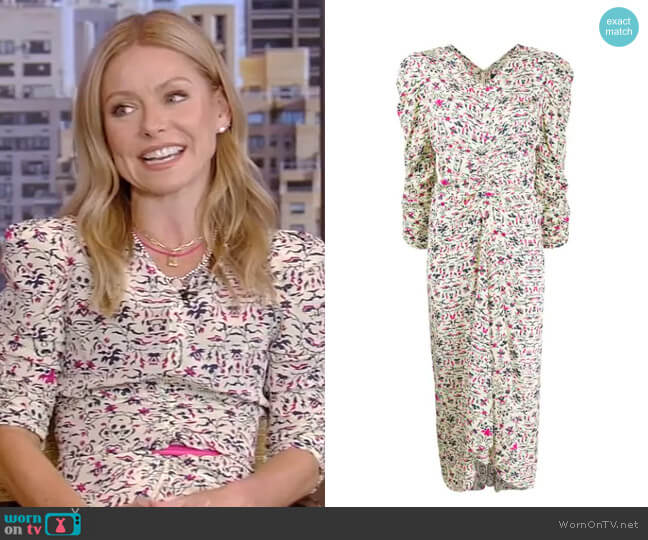 Albi floral silk midi dress by Isabel Marant worn by Kelly Ripa  on Live with Kelly & Ryan