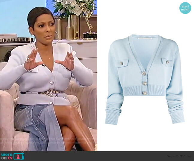 Cropped Cardigan by Alessandra Rich worn by Tamron Hall  on Tamron Hall Show