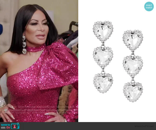 Crystal Triple Heart Earrings by Alessandra Rich worn by Jen Shah  on The Real Housewives of Salt Lake City