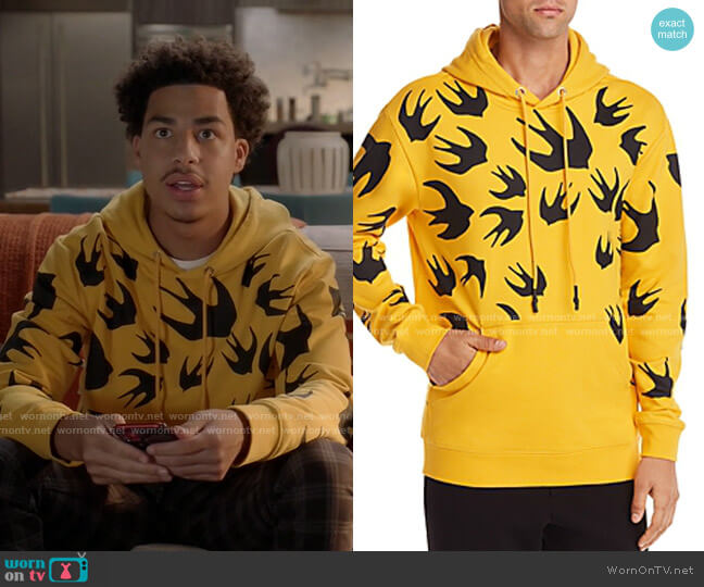 Swallow-Printed Hooded Sweatshirt by McQ Alexander McQueen worn by Andre Johnson Jr (Marcus Scribner) on Blackish