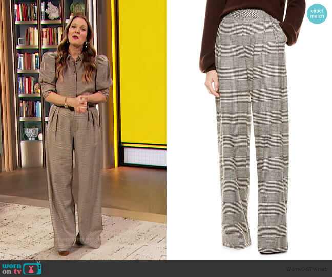 Eric High-Waist Prince Of Wales Check Wool-Blend Pants by Alice + Olivia worn by Drew Barrymore  on The Drew Barrymore Show