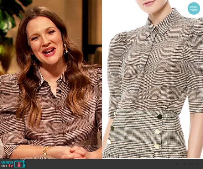 Will Prince Of Wales Check Puff-Sleeve Silk-Blend Blouse by Alice + Olivia worn by Drew Barrymore  on The Drew Barrymore Show