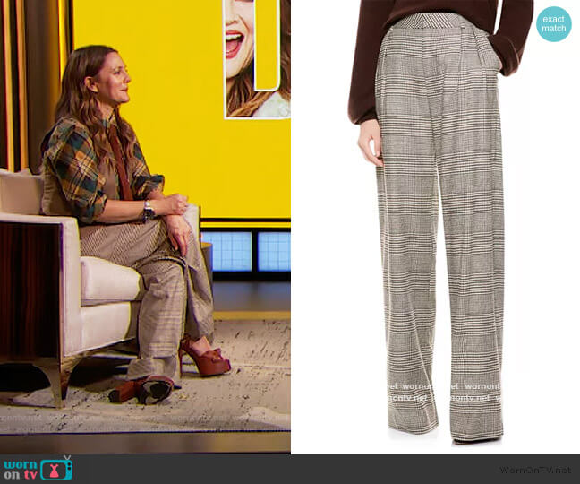 Eric High-Waist Prince Of Wales Check Pants by Alice + Olivia worn by Drew Barrymore  on The Drew Barrymore Show