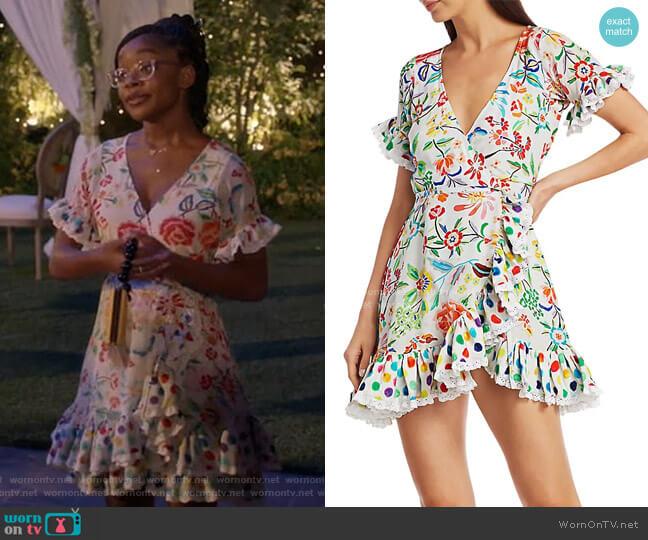 Valeria Floral Silk Wrap Dress by All Things Mochi worn by Diane Johnson (Marsai Martin) on Blackish