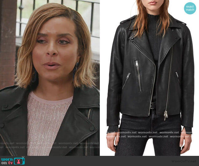 Elva Lambskin Leather Biker Jacket by All Saints worn by Robyn Dixon  on The Real Housewives of Potomac