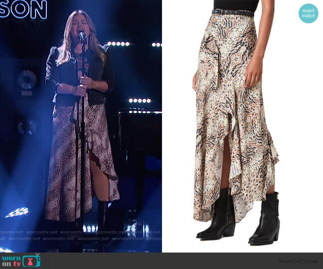Raya Arietta Animal Print Skirt by All Saints worn by Kelly Clarkson  on The Kelly Clarkson Show