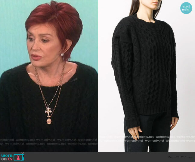 cable-knit long sleeve jumper by Andamane worn by Sharon Osbourne  on The Talk