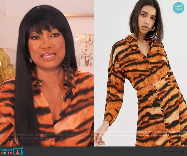 Mango shirt in tiger print by ASOS worn by Garcelle Beauvais  on The Real
