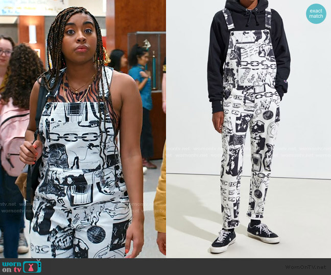 Scribble Print Overall by BDG worn by Aisha (Alycia Pascual-Pena) on Saved By The Bell