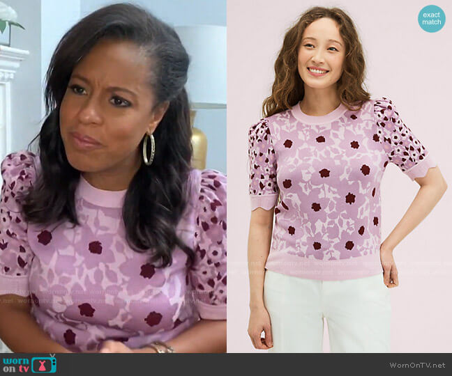 Begonia Jacquard Sweater by Kate Spade worn by Sheinelle Jones  on Today