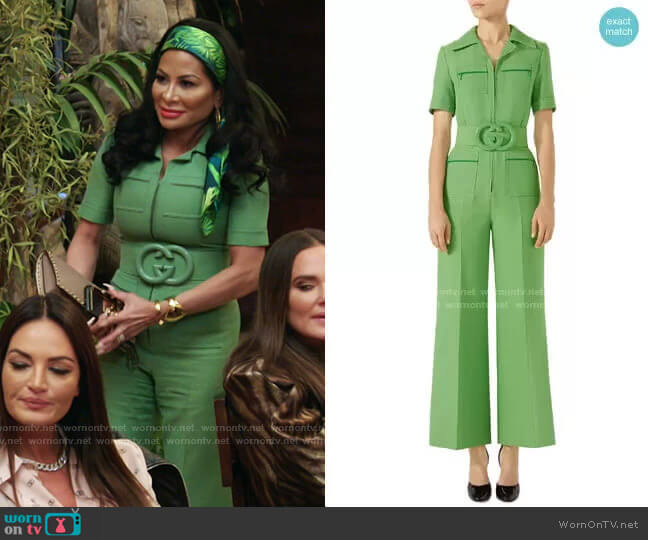 Belted Wide Leg Wool & Silk Cady Jumpsuit by Gucci worn by Jen Shah  on The Real Housewives of Salt Lake City