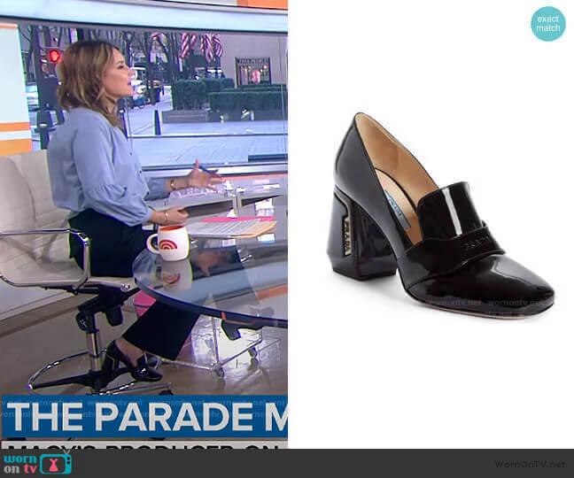 Block Heel Loafer Pump by Prada worn by Savannah Guthrie  on Today
