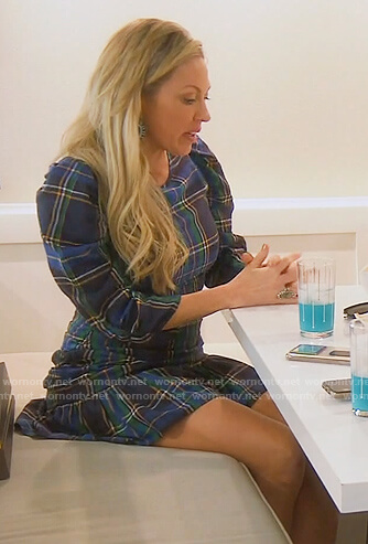 Braunwyn's blue plaid mini dress on The Real Housewives of Orange County