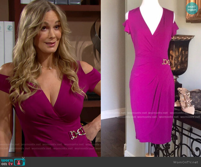 Cache Cold Shoulder Faux Wrap Dress worn by Donna Logan (Jennifer Gareis) on The Bold & the Beautiful