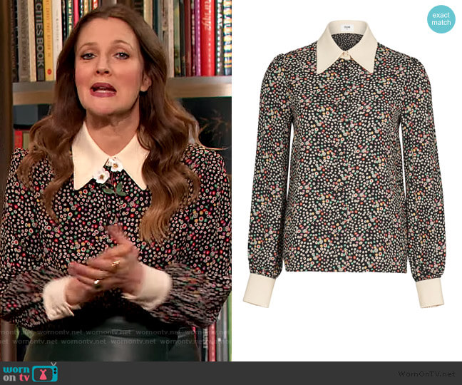 Anita Collar Blouse by Celine worn by Drew Barrymore  on The Drew Barrymore Show